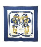 エルメス HERMES カレ90 スカーフ スクエア シルク BRIDES de GALA 式典用馬勒 ネイビー