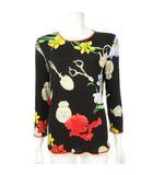 レオナール LEONARD PARIS シルク カットソー ブラウス トップス 花柄 絹 長袖 40 ブラック IBS63