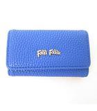 フォリフォリ Folli Follie キーケース 4連 キーリング メタルロゴ フェイクレザー 型押し 青 ブルー ゴールド金具 美品