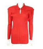 プリーツシャツ スキッパーカットソー プルオーバー トップス ロングスリーブ 4 赤 PP04-JK606 ECR