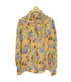 2010 レーヨン 総柄 花柄 ブラウス シャツ トップス 長袖 38 ベージュ系