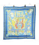 エルメス HERMES LE TEMPS des MARIONNETTES マリオネットの時間 カレ シルク スカーフ 総柄 大判 スクエア 正方形 ストール ショール フランス製 88 × 88 ライトブルー 水色  ■WY