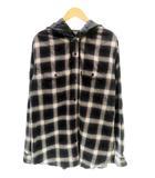 シュプリーム SUPREME ×UNDERCOVER アンダーカバー 15SS Satin Hooded Flannel Shirt サテン フーデッド フランネル チェック シャツ L 紺 ネイビー ブランド古着ベクトル 中古 ☆AA★ 210415 0200