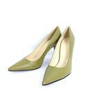 クラネ CLANE 未使用 タグ付 パンプス ハイヒール レザー 牛革 靴 センターライン ベーシック シンプル 37 グリーン 緑 /C13