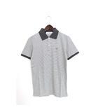 ドレステリア DRESSTERIOR 未使用 タグ付 ポロシャツ カットソー ボーダー ワンポイント 刺繍 半袖 コットン 綿 S グレー /H240b