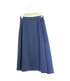 クラネ CLANE 未使用 タグ付 スカート ドッキング シフォン ミディアム丈 無地 綿 コットン 0 ブルー 青 /C218