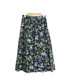 クラネ CLANE 未使用 タグ付 スカート 花柄 フレア ギャザー フラワーパターン 1 ブルー 青 /C168