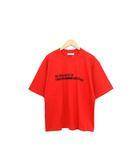 クラネ CLANE 未使用 タグ付 Tシャツ カットソー ロゴ オーバーライン プリント 半袖 コットン 綿 F レッド 赤 /C127