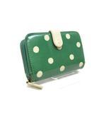 10e2280e1432 キャスキッドソン Cath Kidston 財布 二つ折り ドット 柄 緑 グリーン /Z