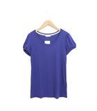 インデックス INDEX 未使用 タグ付 カットソー Tシャツ 半袖 シンプル 無地 パフスリーブ S ブルー 青 /R281b