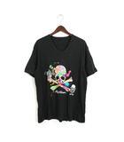ロエン Roen 未使用 タグ付 Tシャツ カットソー スカル プリント Vネック 半袖 コットン 綿 S 1 ブラック 黒 /H212