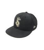 ニューエラ NEW ERA キャップ 帽子 刺しゅう 英字 59.6 黒 ブラック /Z