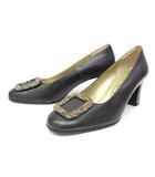 イヴサンローラン YVES SAINT LAURENT パンプス 靴 シューズ 装飾 35 黒 ブラック /ZT12
