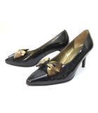 イヴサンローラン YVES SAINT LAURENT パンプス 靴 シューズ リボン 36 黒 ブラック /ZT5