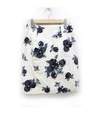 マルティニーク martinique タイトスカート 花柄 ひざ丈 1 白 ホワイト 黒 ブラック /ZB