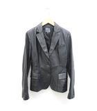 シーケーカルバンクライン ck Calvin Klein レザージャケット 革ジャン テーラードジャケット 6 黒 ブラック /Z