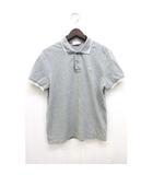 ポロシャツ ワンポイントロゴ 鹿の子 シンプル 半袖 M 灰色 グレー /Z