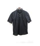 ポロシャツ シャドーストライプ 柄 ボタンダウン 半袖 M 黒 ブラック /Z