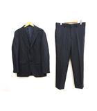 タケオキクチ TAKEO KIKUCHI 美品 2B シングル スーツ 4 ダークネイビー 柄織り センターベント