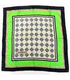 イヴサンローラン YVES SAINT LAURENT スカーフ シルク ダイヤ柄 黄緑 グリーン系 黒 ブラック系