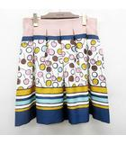 エムズグレイシー M'S GRACY スカート 膝丈 サクランボ 総柄 さくらんぼ W75cm 40 Lサイズ相当 ピンク 青 ブルー系