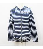 パーカー ジップアップ 長袖 フード ボーダー 綿 コットン 100% 2(M相当) 紺 ネイビー系 白 ホワイト系 ●32