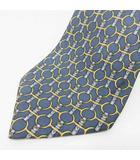 エルメス HERMES ネクタイ 総柄 ベルト 金具柄 絹 シルク100% 仏製 フランス製 灰色 ブルーグレー系