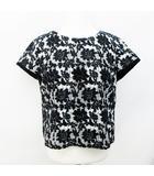 花柄 チェック 半袖 カットソー 2 Mサイズ相当 黒 ブラック系 白 ホワイト系 ベージュ系 日本製 ●51