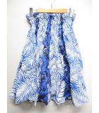フラダンス ハイビスカス柄 パウスカート 総丈61cm 青ブルー系