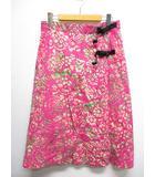 ワイルドシングス WILDTHINGS 総柄 ラップ 巻き 台形 スカート F ピンク 薄手 綿100%