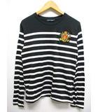 ラルフローレン RALPH LAUREN パネルボーダー柄 ワッペン 長袖 Tシャツ 7f 黒x白 薄手 カットソー 綿100% 正規