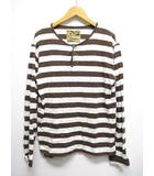 ノンネイティブ nonnative ボーダー柄 長袖 ヘンリーネック Tシャツ カットソー ロンT 茶xオフホワイト 日本製