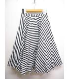 フレイアイディー FRAY I.D 美品 ストライプ柄 麻 リネン フレア スカート 1 白x黒 バックゴム 内側チュール 裏地付き
