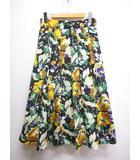 ボールジー BALLSEY トゥモローランド 美品 フラワープリント ロング スカート 花柄 タック フレア 36 黒 ブラック 裏地付き 日本製