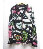 美品 絹 シルク混 総柄 プリント シアー シャツ ブラウス カットソー L 黒 白 ピンク 長袖 比翼仕立て 透け感 予備ボタン