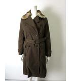 ヒューマンウーマン HUMAN WOMAN MICROTEX コート オイルドジャケット ラビットファー ライナー付 長袖 2 M ブラウン 茶