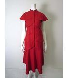 ジュンアシダ jun ashida スカート スーツ リネン フレア 半袖 上下セットアップ S 赤