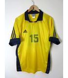 アディダス adidas プラクティスシャツ ユニフォーム 半袖 ヴィンテージ XL 黄色 イエロー 紺 ナンバー 15 サッカー soccer ウエア