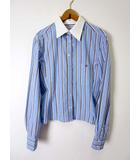 シャネル CHANEL シャツ ブラウス クレリック 長袖 ストライプ ココマーク 刺繍 38 ブルー 水色 ブラウン 白 国内正規品