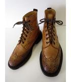 トリッカーズ TRICKER'S ブーツ カントリーブーツ レースアップ シューズ 靴 M2508 ウイングチップ 25.5 キャメルブラウン 茶色 くつ 靴
