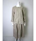 エディーバウアー EDDIE BAUER スカート スーツ リネン コットン 麻綿 上下セットアップ LL カーキ ベージュ 大きいサイズ タグ付 美品