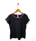 エレッセ ellesse Tシャツ ドライ ストレッチ ロゴ刺繍 パイピング フレア袖 半袖 L 黒 ブラック テニス スポーツウエア トレーニングウェア