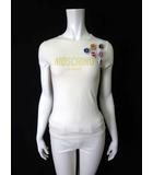 モスキーノ MOSCHINO Tシャツ ロゴ プリント 王冠バッジ付き 半袖 40 S アイボリー