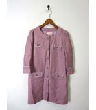 ミニマム MINIMUM コート ノーカラー ツイード ボーダー柄 7分袖 M 紫 ピンク