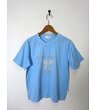 クレージュ courreges Tシャツ ロゴ 刺繍 プリント コットン 半袖 L サックス ブルー