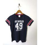 アディダス adidas Tシャツ ナンバー ライン ロゴ Vネック 半袖 L 紺 ネイビー 国内正規品