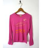 チェスティ Chesty Tシャツ ロゴ リップ プリント 長袖 ロンT F ピンク 美品