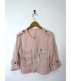 フリーズフレーズ FREE'S PHRASE ジャケット ブルゾン シャツ ジップアップ ノーカラー ドット刺繍 長袖 M ピンク
