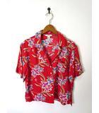 フォーエバー21 FOREVER21 シャツ アロハシャツ 花柄 半袖 S 赤 美品