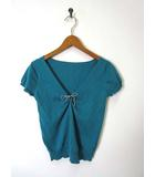 プーラフリーム pour la frime ニット カットソー コットン Vネック 胸元リボン 半袖 緑